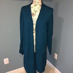 Talbots merino long cardigan, XL, Teal